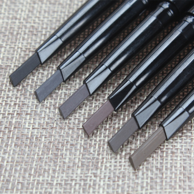 5色自動眉ペンシル長持ちソフトで滑らかでブラシプロフェッショナルブラックグレー防水アイライナーツー